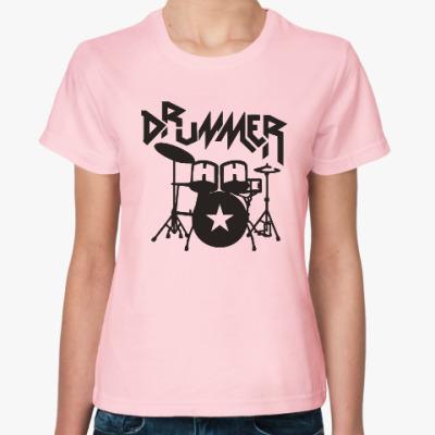 Женская футболка Барабанщик