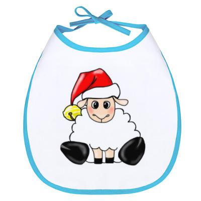 Слюнявчик Новогодняя овечка