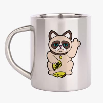 Кружка металлическая Tard Grumpy Cat Maneki Neko