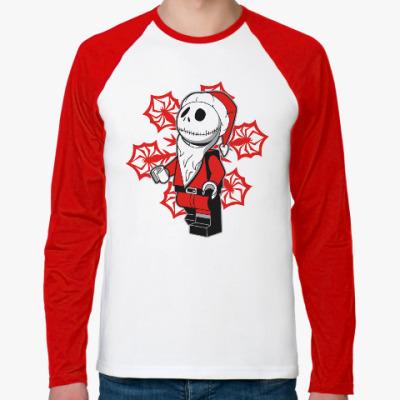 Футболка реглан с длинным рукавом Санта скелет