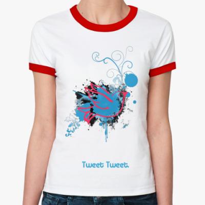 Женская футболка Ringer-T Tweet  ж()