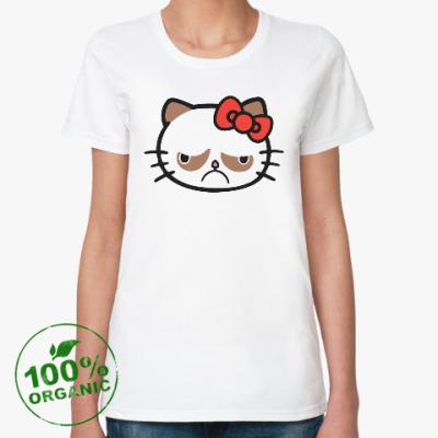 Женская футболка из органик-хлопка Hello Grumpy Cat