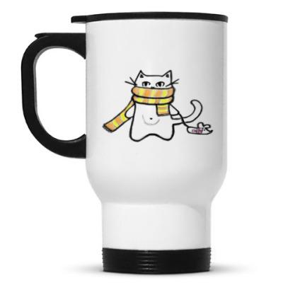 Кружка-термос Кот в шарфе