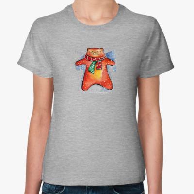 Женская футболка Снежный Кот