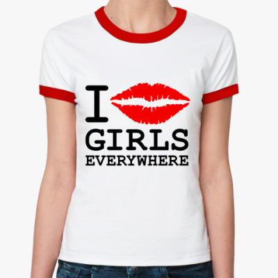 Женская футболка Ringer-T GIRLS EVERYWHERE