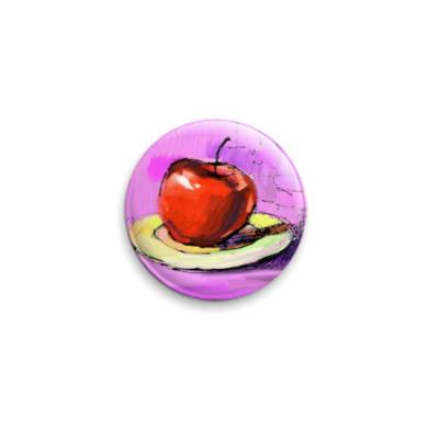 Значок 25мм Яблоко на блюдце