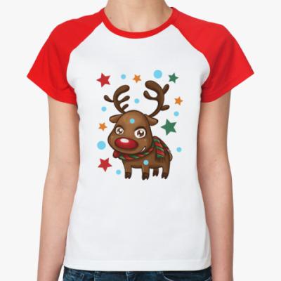 Женская футболка реглан Олень со звёздами