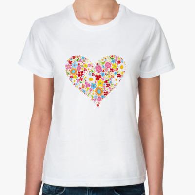 Классическая футболка Сердце и Цветы