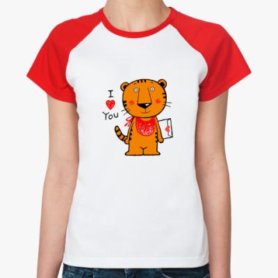 Женская футболка реглан Tiger in Love
