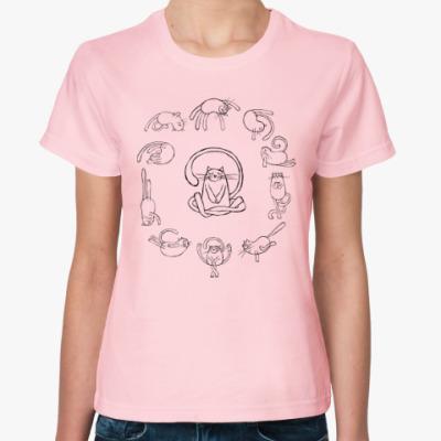 Женская футболка yoga cats (йога коты)