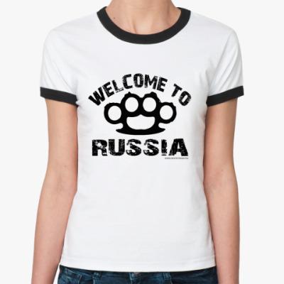 Женская футболка Ringer-T   WELCOME RUS