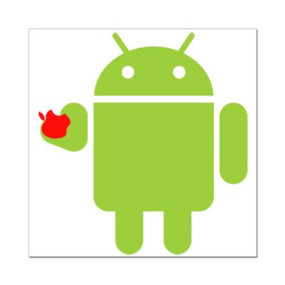 Наклейка (стикер) Андроид с яблоком