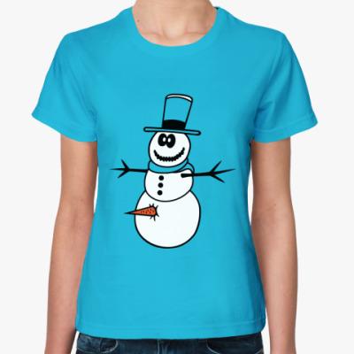 Женская футболка Неправильный  снеговик