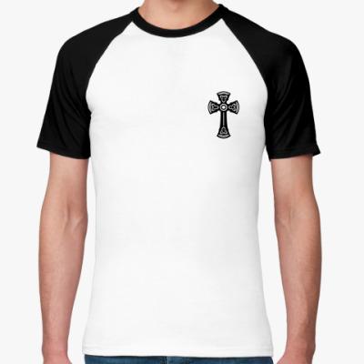 Футболка реглан Черный Тамплиерский крест