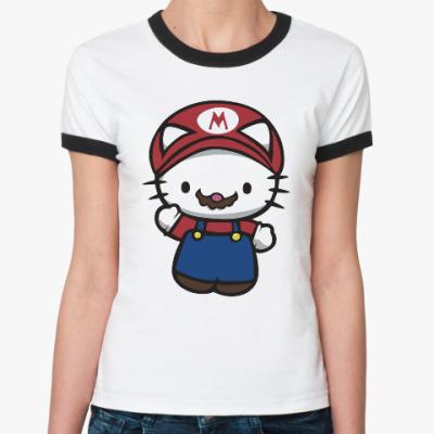 Женская футболка Ringer-T Китти Марио
