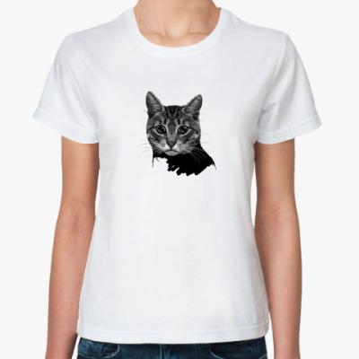 Классическая футболка  Котогравюра