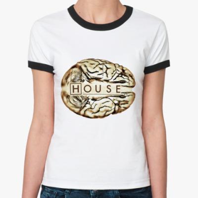 Женская футболка Ringer-T House brain  Ж()