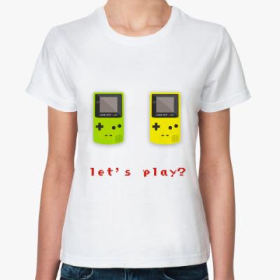 Классическая футболка let's play game boy