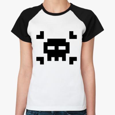 Женская футболка реглан 8bit skull  Ж ()