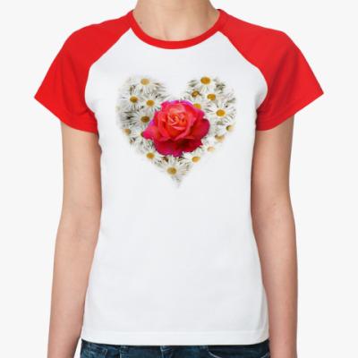 Женская футболка реглан Роза в сердце