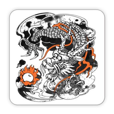 Костер (подставка под кружку) Дракон с жемчужиной