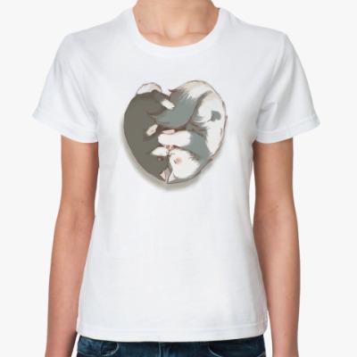 Классическая футболка Котики в сердечке