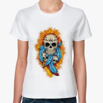 Классическая футболка Черепа и перья