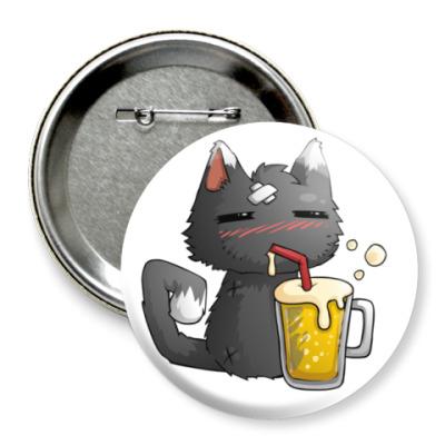 Значок 75мм Пьющий кот