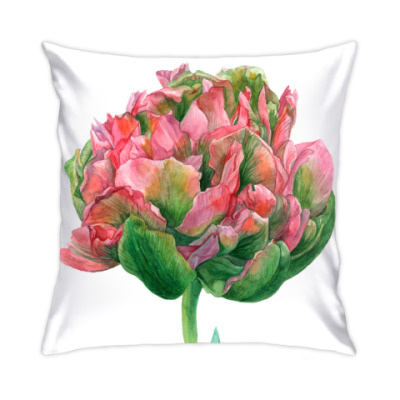 Подушка Цветок тюльпан акварель