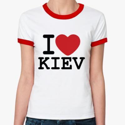 Женская футболка Ringer-T I Love Kiev