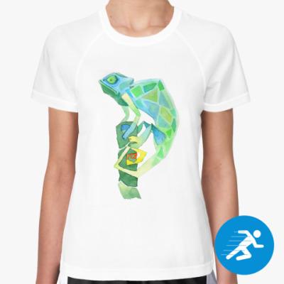 Женская спортивная футболка Хамелеон Акварель
