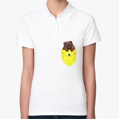 Женская рубашка поло Мишка в кармашке
