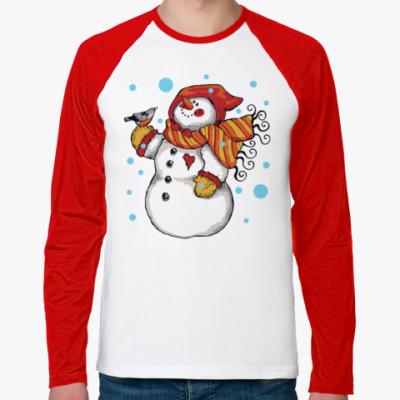 Футболка реглан с длинным рукавом Снеговик и снегирь