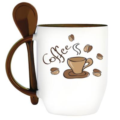 Кружка с ложкой Кофейная идиллия
