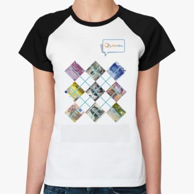 Женская футболка реглан Любовь к деньгам
