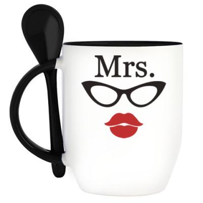 Кружка с ложкой Миссис