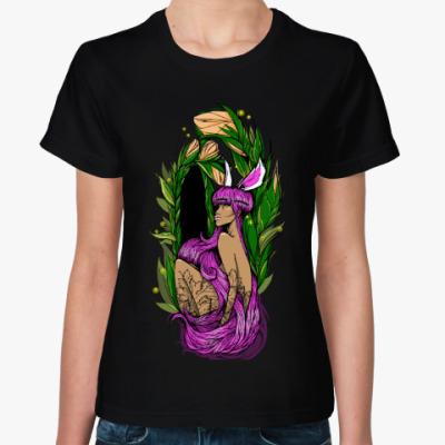 Женская футболка Floral Dark Babe/ Розоволосая