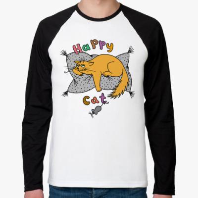 Футболка реглан с длинным рукавом Happy cat