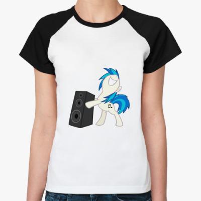 Женская футболка реглан Пони с колонкой