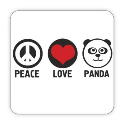 Костер (подставка под кружку) peace love panda
