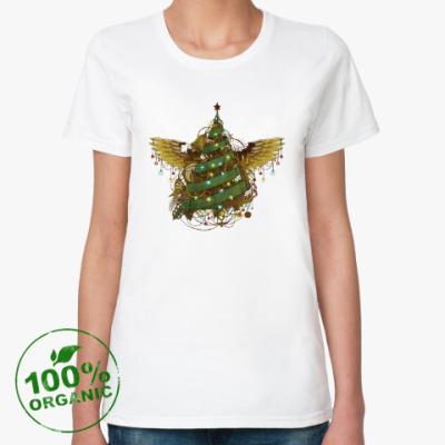 Женская футболка из органик-хлопка Стимпанк ёлочка