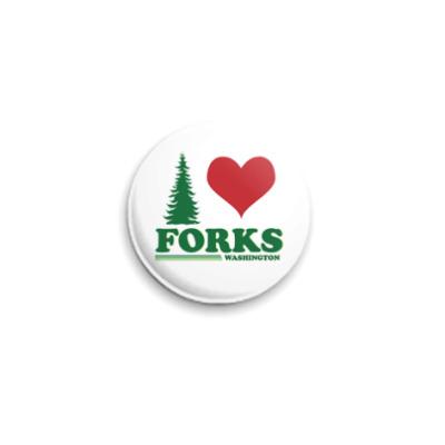 Значок 25мм I love Forks.WA
