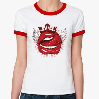 Женская футболка Ringer-T Губы и язык