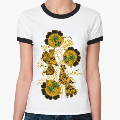 Женская футболка Ringer-T   'Золотые птицы'