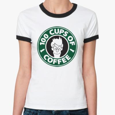 Женская футболка Ringer-T Futurama coffee Starbucks