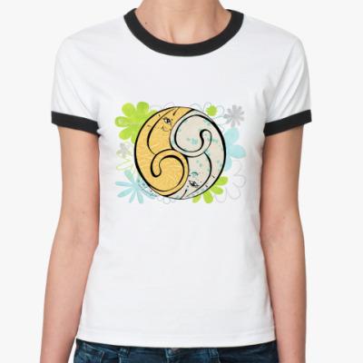 Женская футболка Ringer-T Коты 69-дыня и мята