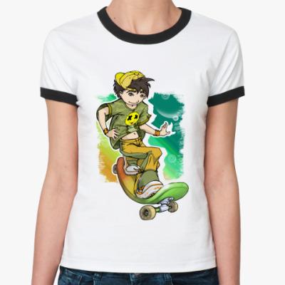 Женская футболка Ringer-T Скейтборд