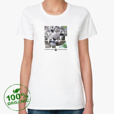 Женская футболка из органик-хлопка WWF. Моя натура- Cнежный барс!