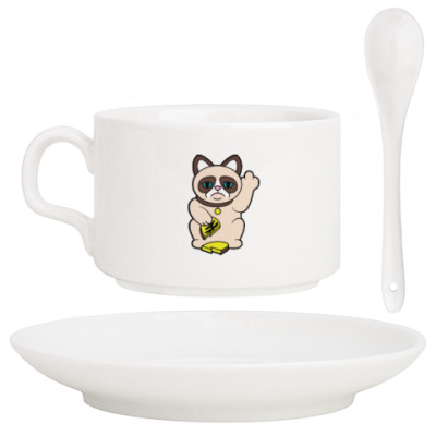 Кофейный набор Tard Grumpy Cat Maneki Neko