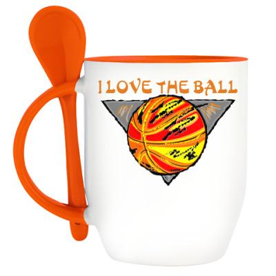 Кружка с ложкой I Love The Ball